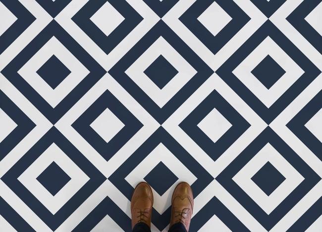Argyle Diamond Pattern Flooring Blue Feet 2