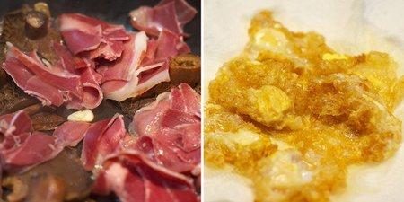 Huevos con jamón y setas - elaboración