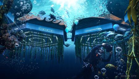 Flota en el mar y tiene granjas submarinas