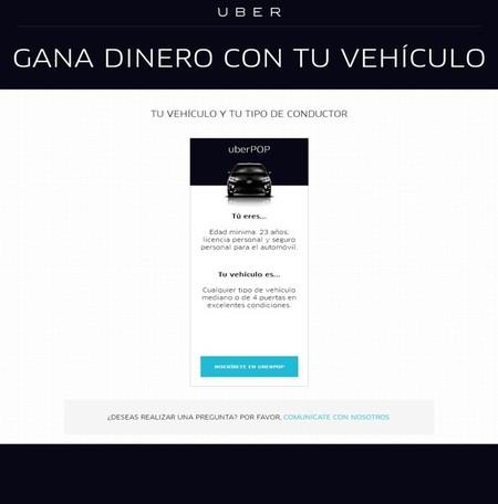 UberPop condiciones conductor