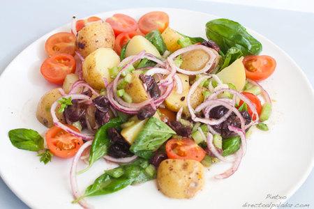 Ensalada de patatas y albahaca. Receta