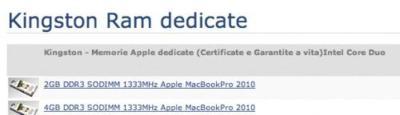 """Aparecen módulos de memoria RAM para un """"MacBook Pro 2010"""""""