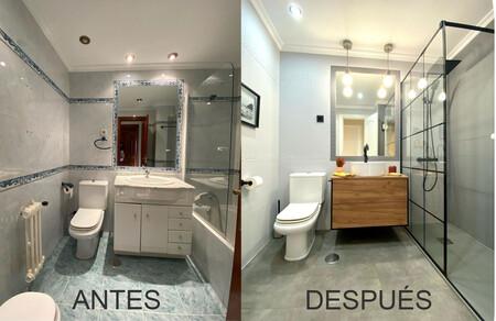 Un cuarto de baño elegante y contemporáneo gracias a una nueva reforma sin obra de Decoryver