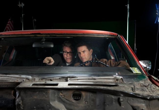Tom Cruise y Christopher McQuarrie en el set de rodaje de Jack Reacher