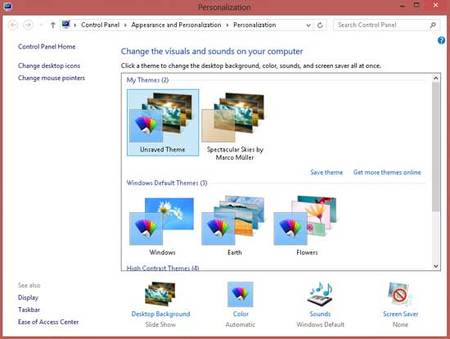 Configuración del fondo de escritorio en Windows 8