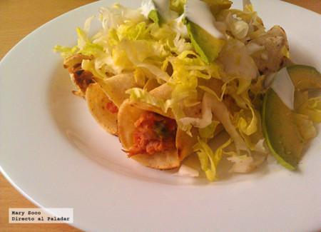 Tacos dorados de atún. Receta