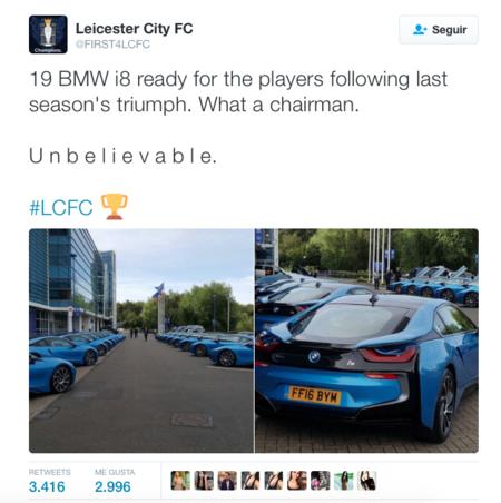 El Leicester City ganó la Premier League y como recompensa BMW i8 para todos los jugadores