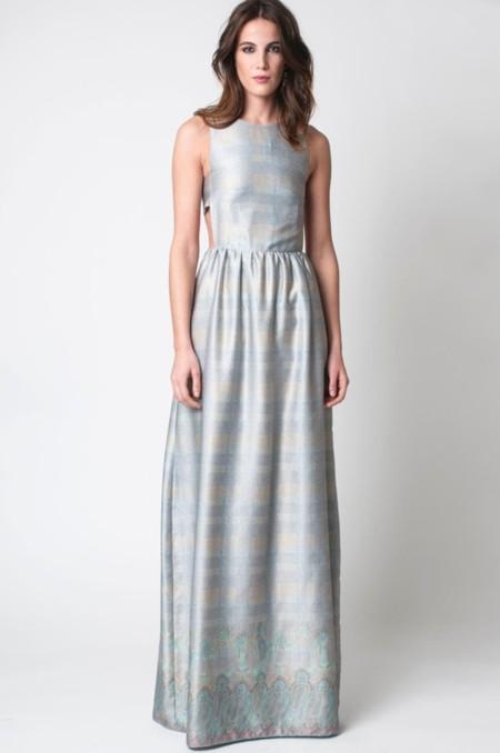 Vestido azul de rayas