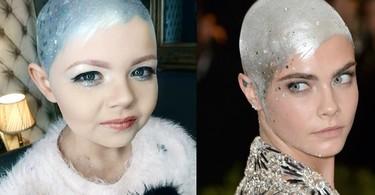 La pequeña con cáncer que decidió convertirse en Cara Delevingne después de perder todo el pelo