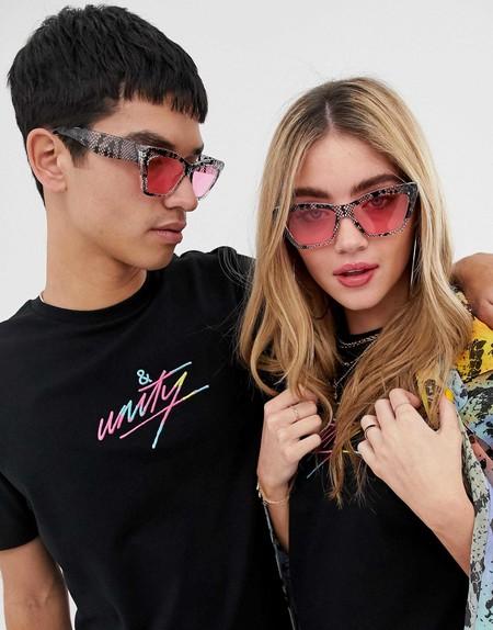 Asos Design X Glaad Unisex Sunglasses In Pink Snake Print