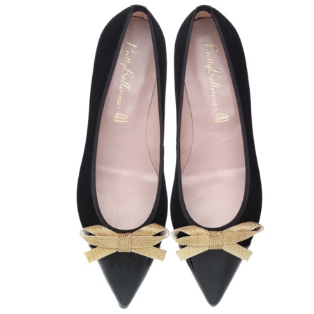 Ella Gold Chain Bow With Black Patent Pair