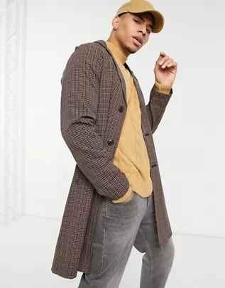 Abrigo largo a cuadros vichy con cinturón de Harry Brown en ASOS