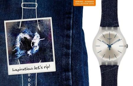Denim también en los relojes Swatch