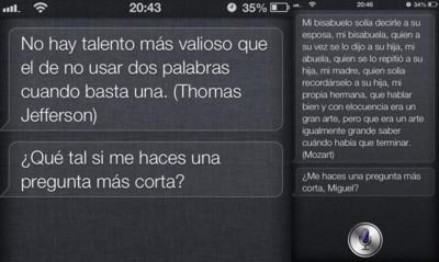 Siri predica sobre la virtud de ser breve cuando le hacemos una pregunta demasiado larga