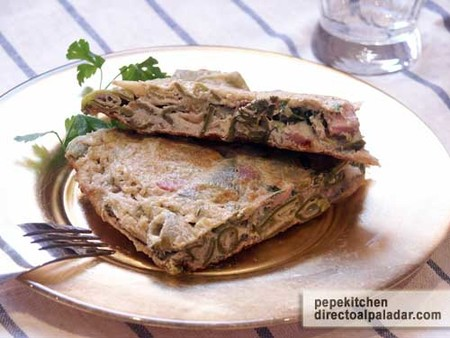 Receta de tortilla de habas con jamón