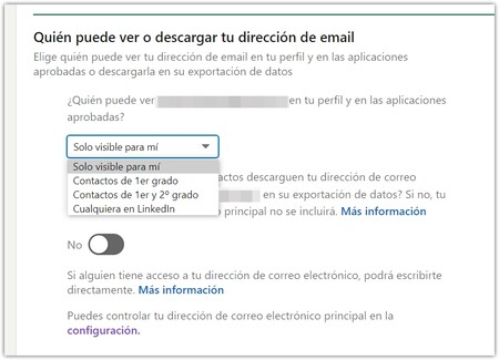 Email address visibility options