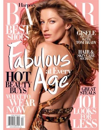Foto de Gisele Bundchen en la portada de abril de Harper's Bazaar  (10/10)