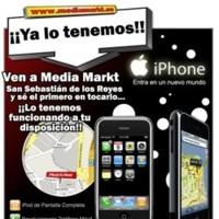 El iPhone, expuesto en el Media Markt de San Sebastian de los Reyes en Madrid