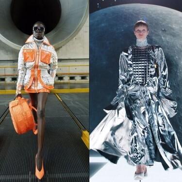 Balmain nos propone viajar a la luna con prendas de colores neón, efecto metalizado y cuero, así lo vemos en su colección Otoño-Invierno 2021/2022