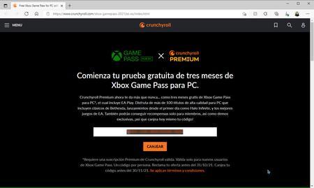 Coidogo Xbox Game Pass Crunchyroll