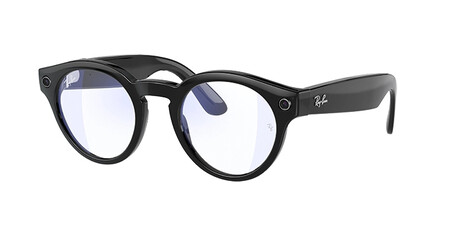 Ray Ban Stories Round Shiny Black Clear With Blue Light Filter Lenses2
