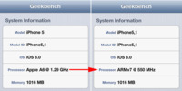 El Apple A6 del iPhone 5 funciona a 1.3GHz, según Geekbench