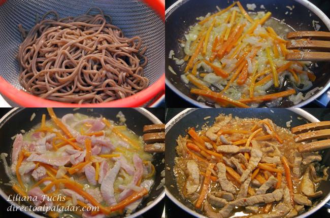 Salteado de cerdo y zanahoria con fideos soba. Pasos
