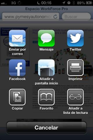 Pantallazo de iOS