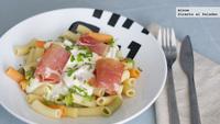 Pasta con salsa de Gorgonzola y jamón. Receta
