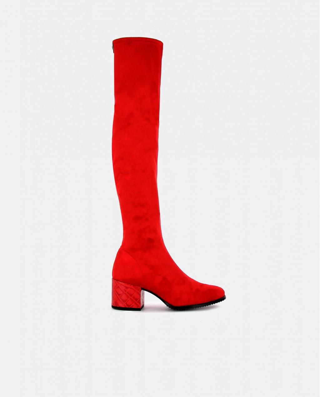 Botas de ante elástico color rojo