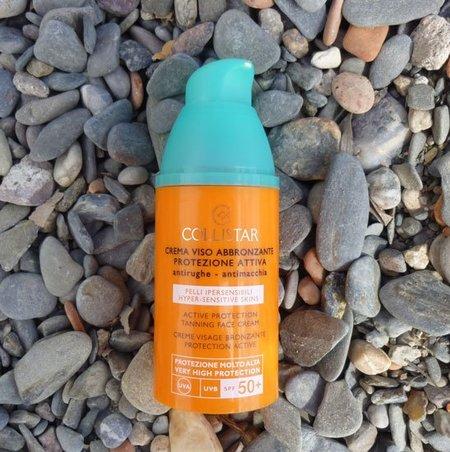 Crema solar facial SPF 50 de Collistar con Luteína, ideal pieles masculinas sensibles. Mi prueba