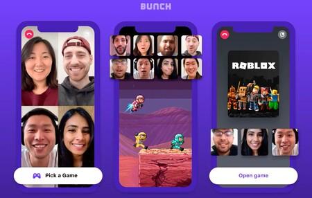 Bunch, la aplicación para jugar con amigos mediante videollamada y chat en grupo