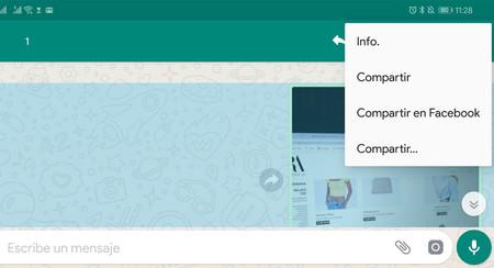 WhatsApp Beta añade un menú para compartir mensajes en Facebook, pero no funciona