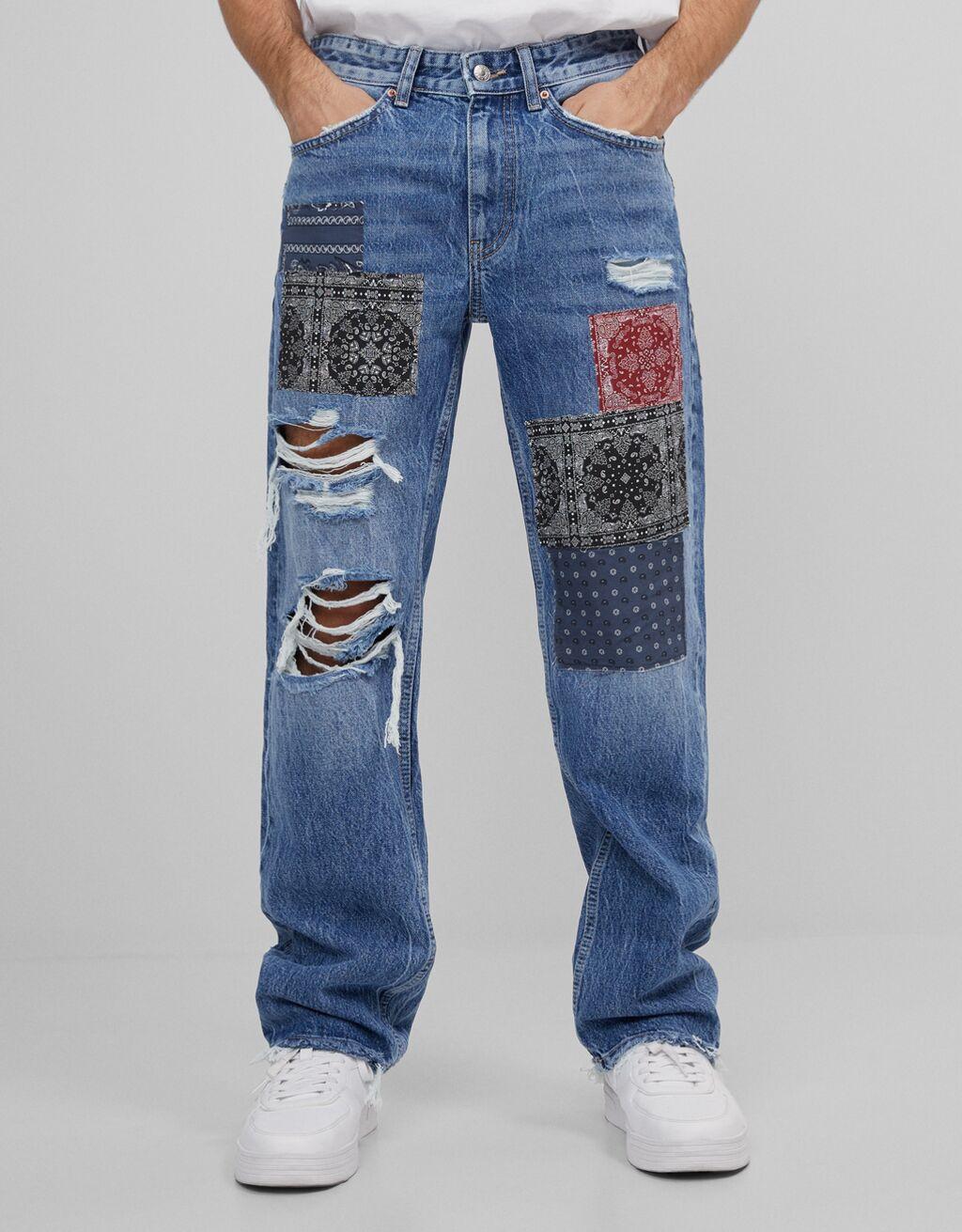Jeans con efecto patchwork