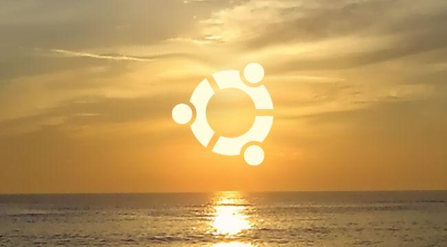Ubuntu logo, puesta de Sol