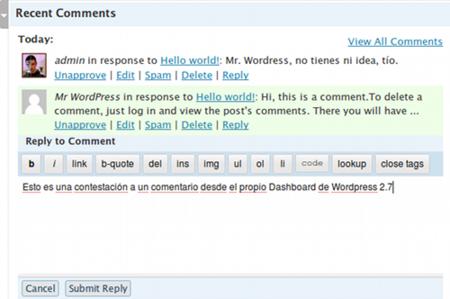 Wordpress 2.7 - Comentarios