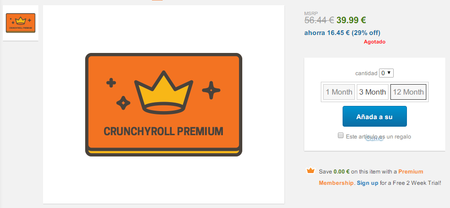 Crunchyroll Premium Membership Gift Twelve Month