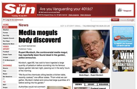 El grupo de hackers LulzSec cuelga un artículo falso en The Sun en el que afirma que Murdoch ha muerto de sobredosis