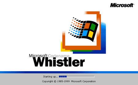 Pantalla de inicio en Windows Whistler