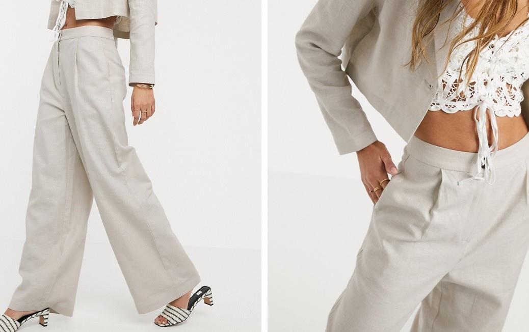 Pantalones de traje con pernera ancha en lino