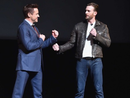 Robert Downey Jr. y Chris Evans bromean en la presentación de Civil War