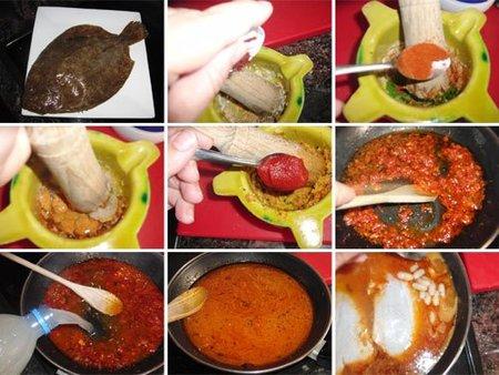 Preparación del ajo pimienta de rodaballo