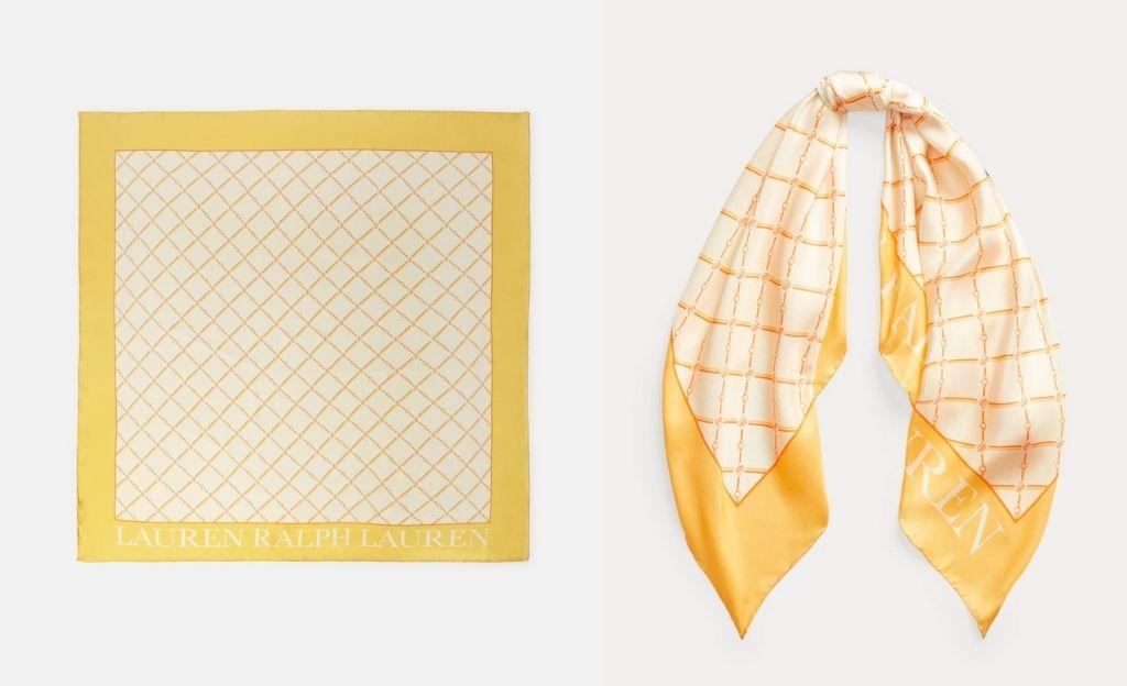 Pañuelo de seda Lauren Ralph Lauren en tono natural estampado
