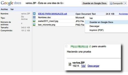 El visor de Google Docs ahora permite acceder al contenido de archivos ZIP y RAR