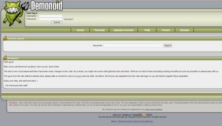 El popular tracker Demonoid vuelve a estar operativo