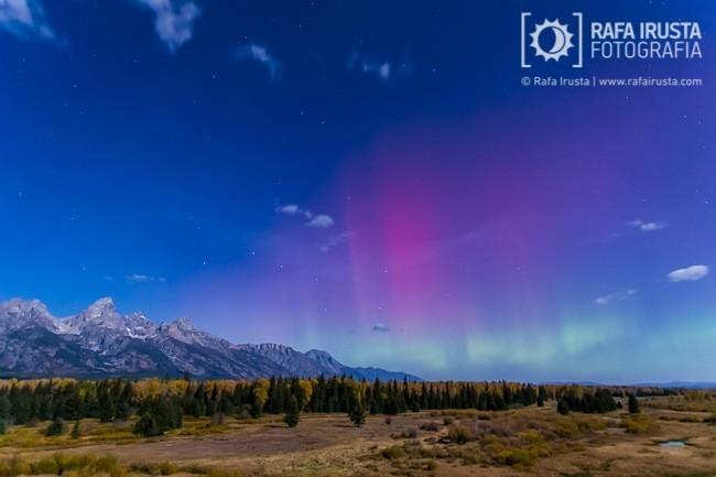 Rafa Irusta, aurora boreal sobre Grand Teton