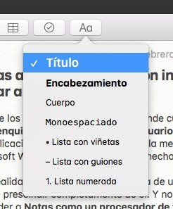 Notas Apple Encabezados