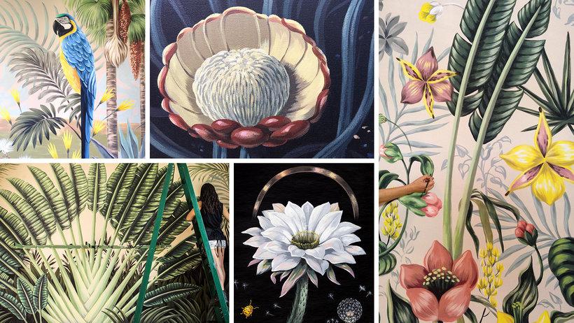 Pintura botánica con acrílico Un curso de Lucila Dominguez , Pintora, ilustradora y muralista
