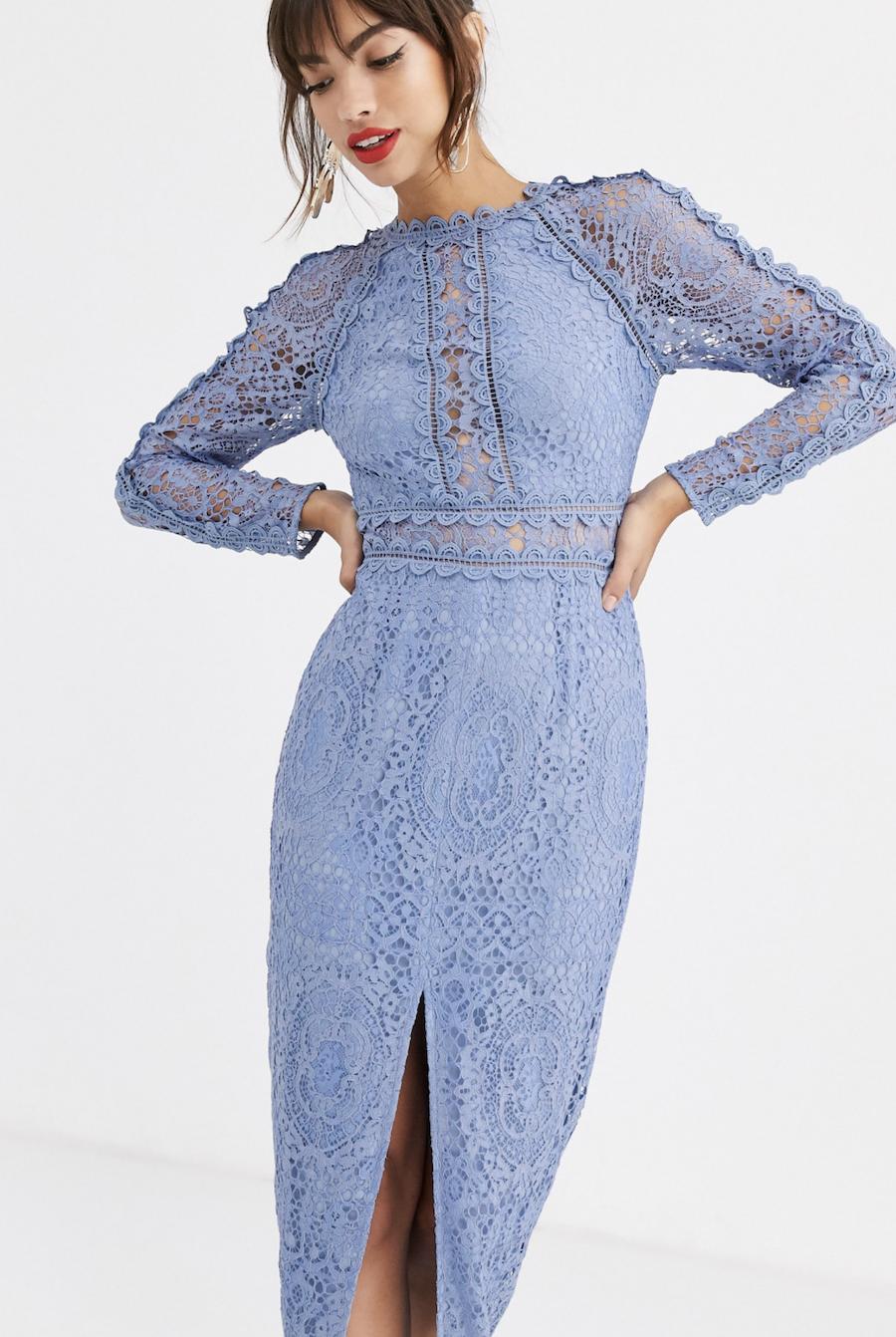 Vestido de tubo con manga larga de encaje con ribete de encaje geométrico de ASOS DESIGN