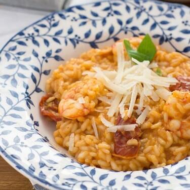 Risotto de gambas y tomates secos, receta